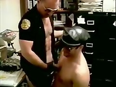 Kinky officer gets down on his knees and blows partner