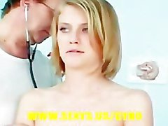 Blonde babe in gyno exam