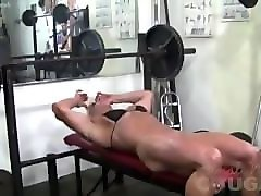 lacey's big clit in the gym