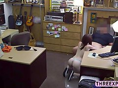 awesome petite babe jenny gets pussy slammed by a massive cock in the shop