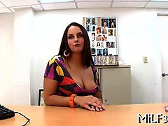big tits young milf fucked on an office table in pov