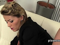 astounded peach in undies is geeting pissed on and drilled