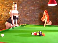the pool table sex games of two juggy babes