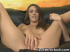 skinny brunette amateur gagging during rough face fucking