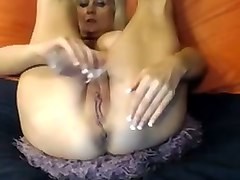 voracious blonde bitch toying her asshole in amateur video