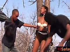 Bdsm teen ebony fucked by two black rods