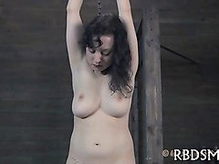 gagged angel is hoisted up before hard cunt prodding