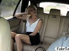 sexy amateur blonde passenger drilled by pervert driver