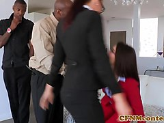 Interacial CFNM foursome spex babes analized