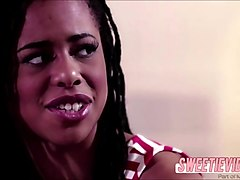 Black babe Kira in an interacial sex