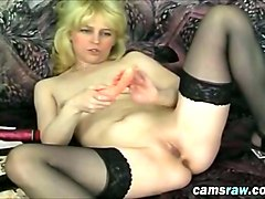 blonde vanessa solo pussy dildo anal toys on couch