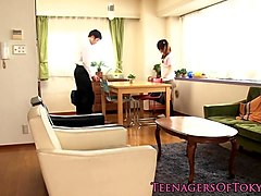 teen nippon schoolgirl give footjob in socks