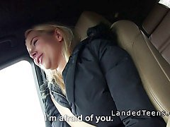 blonde teen in panties banged in car pov